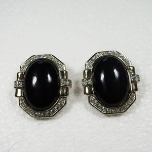 Vintage Panetta Faux Onyx and Pavé Setting